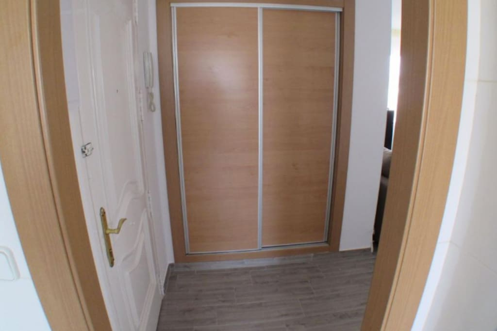 Entrance view, with storage.