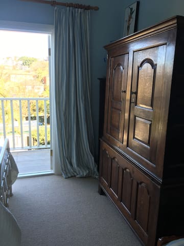 Antique wardrobe in room