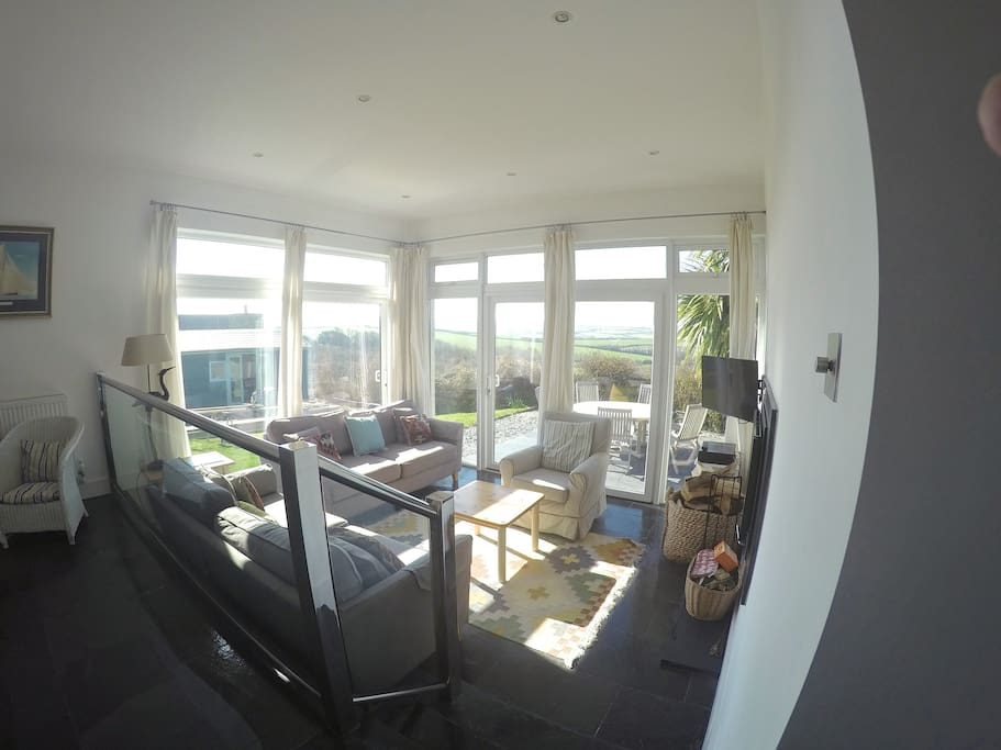 sitting room leading to terrace & facing the view.