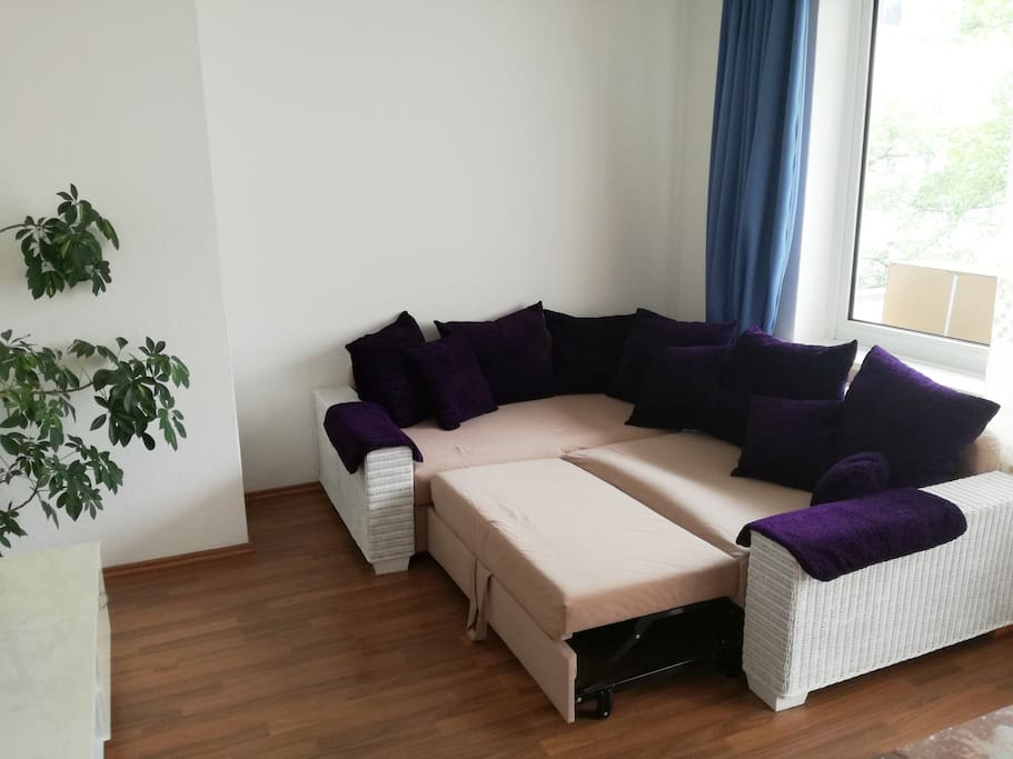 living room with a sofa bed