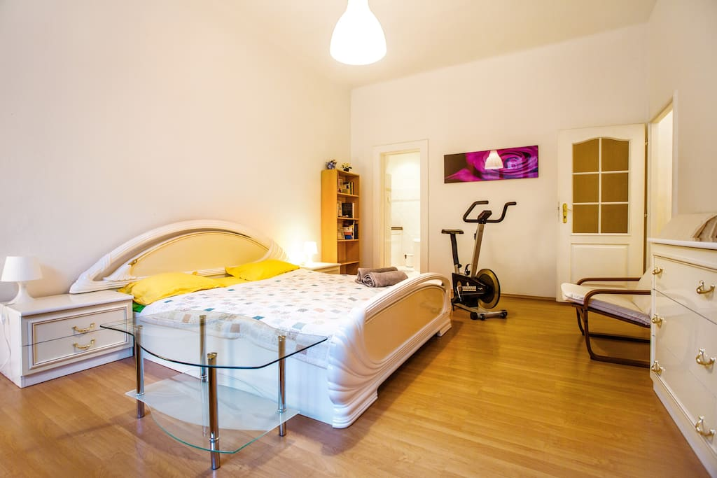 spacious bedroom with a private bathroom and a sofa