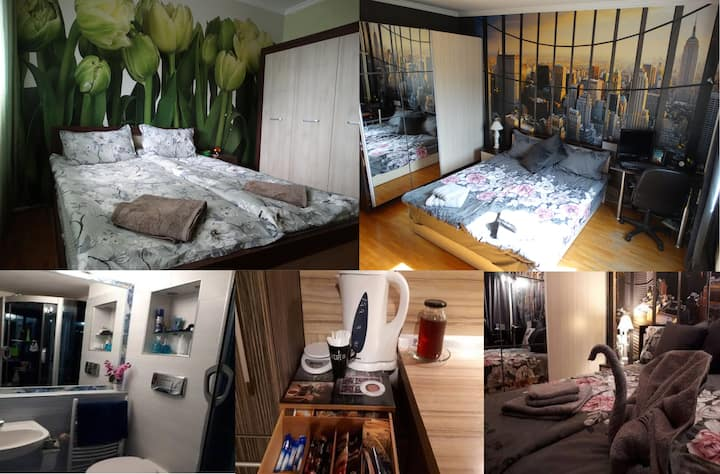 2 Rooms with private Bath near Airport