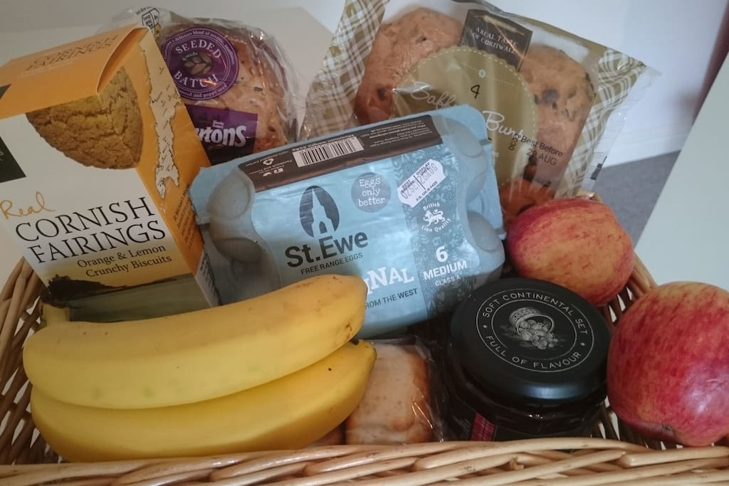 Contents may vary. Welcome mini hamper basket