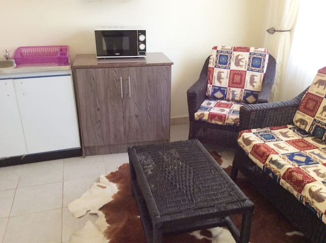 Cozy living space with Satellite TV and well equipped kit henette