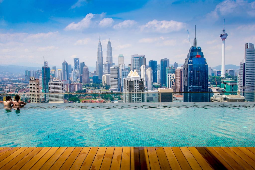37th-floor infinity rooftop pool. Voted best view in the entire Kuala Lumpur City.