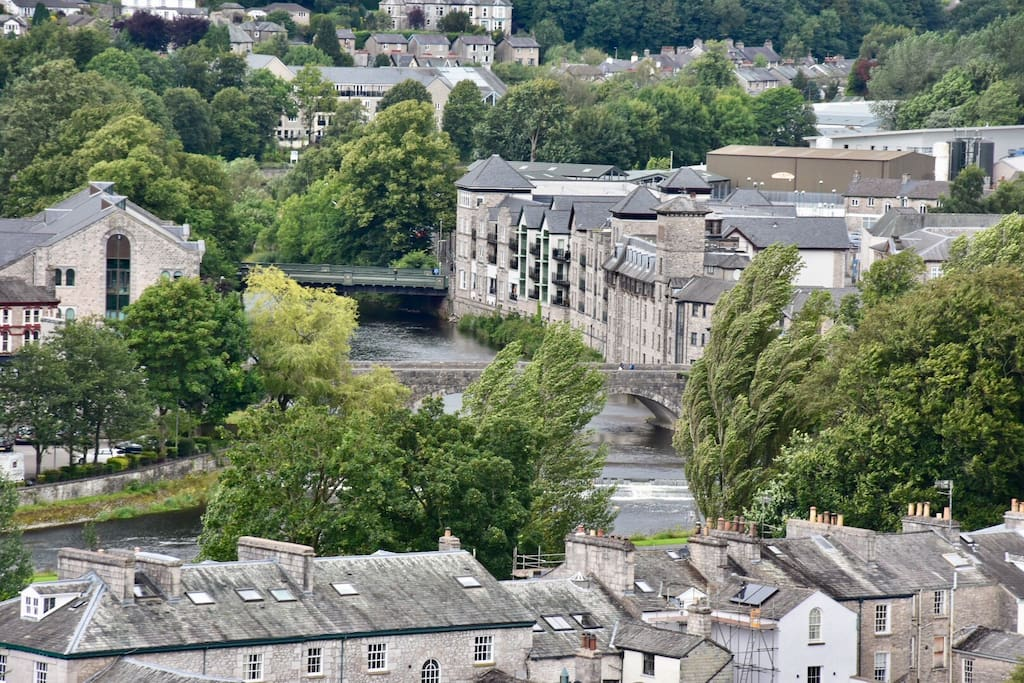 A view to the home - the apartment faces the mountains not the river. From Kendal castle a 20 minute walk from the apartment.
