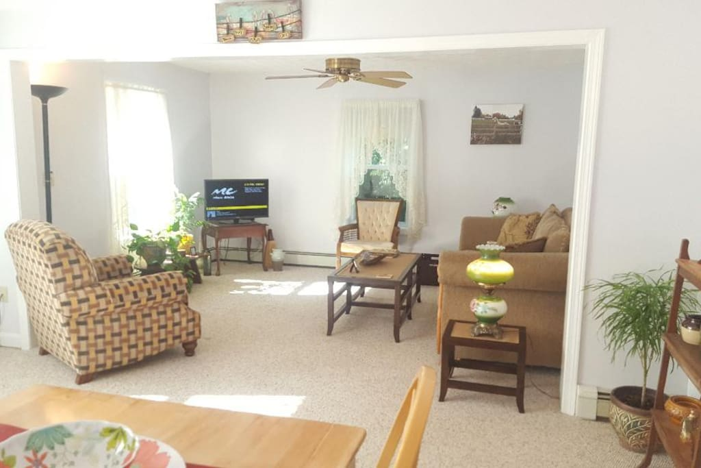 Living room includes 32 inches color TV with ESPN, HBO, Showtime, Starz, Cinemax, FX, Encore and many more stations plus internet.