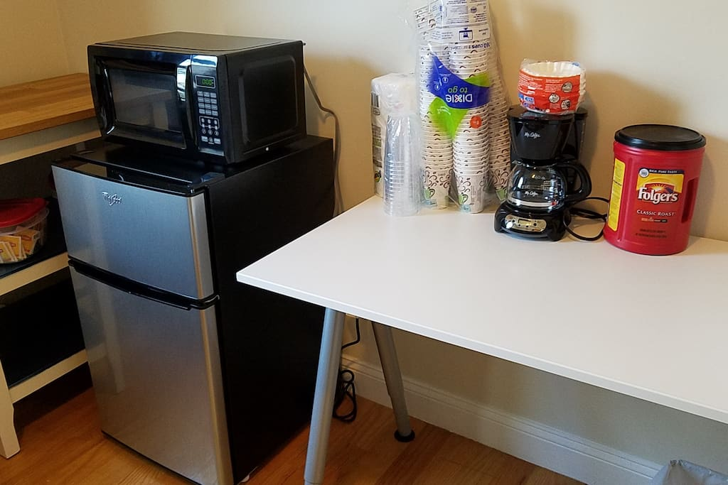 Hot and cold drink cups, microwave, coffee, coffee maker etc