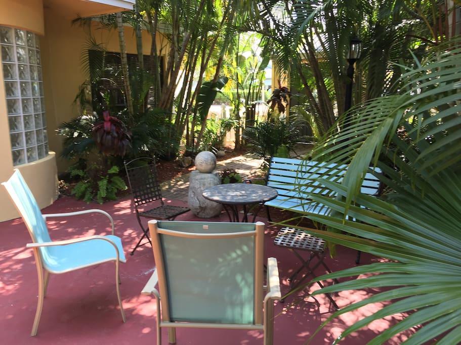 Your garden area outside your front door.