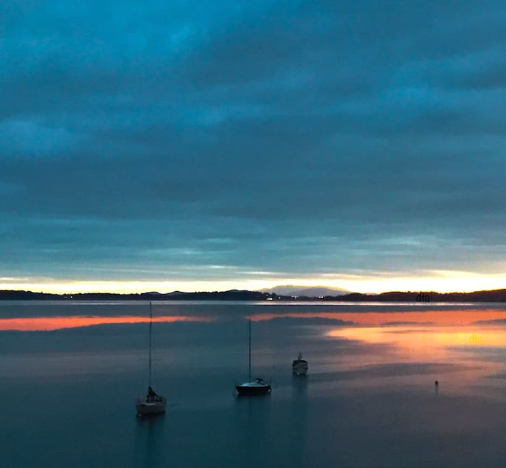 Sunrise from Mill Bay Moments photo courtesy of our guest David