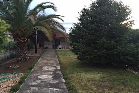 Village house fireplace, garden,BBQ - Archaia Nemea