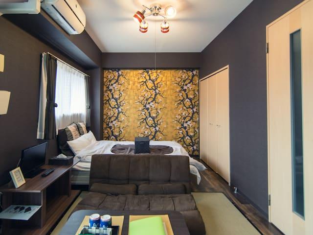 Kyoto St.3min/Cozy&Clean/Wifi/Large room  - Kyōto-shi - Apartment