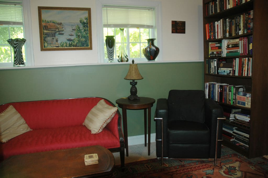 Comfortable seating/reading area.