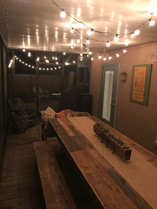 Back porch makes a beautiful dining option