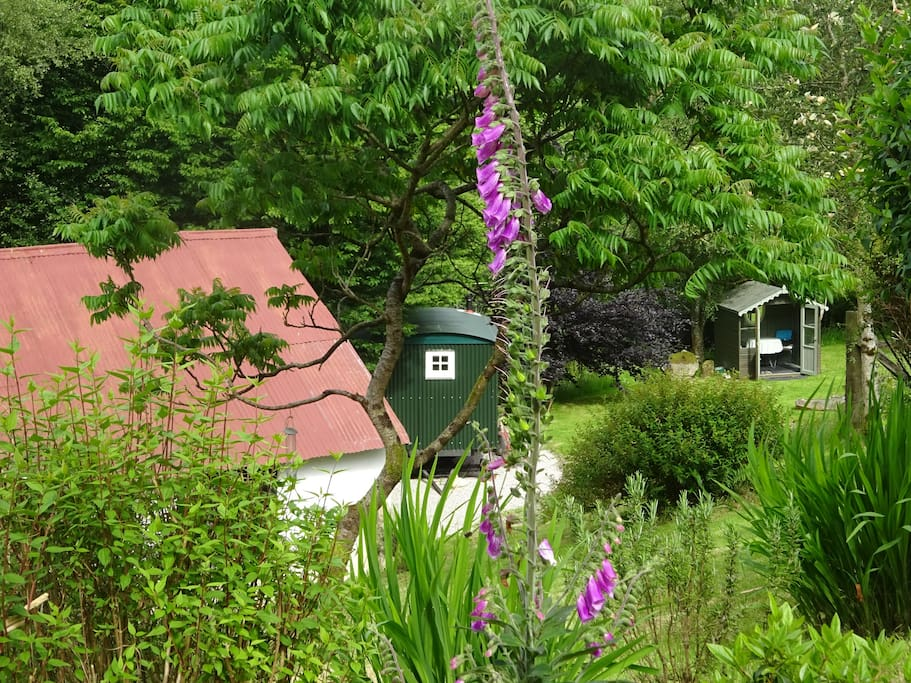 Hut and summerhouse from garden