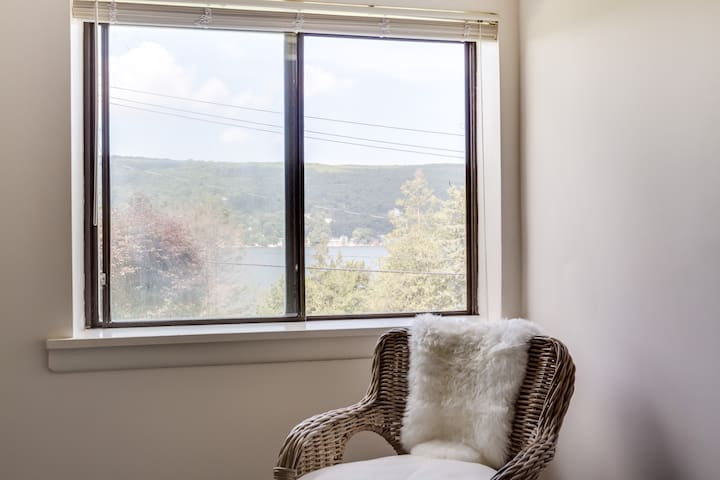 Beautiful lake views from the master bedroom.