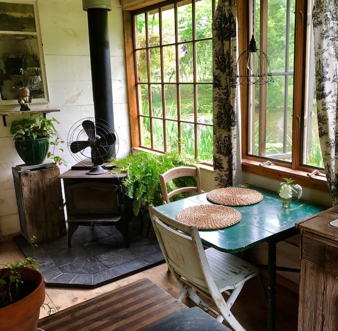 Perfect spot to sit and watch the wildlife pond... great spot for morning coffee, perhaps do some writing, or just be in the moment of natures wonders right outside your cabin...