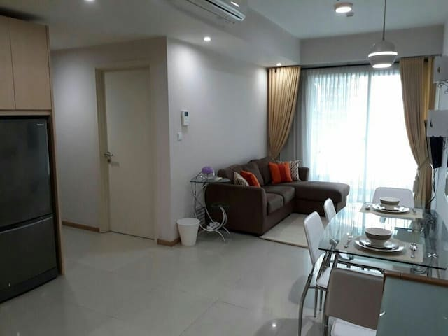 The bedrooms and bathrooms are to the left of the function rooms for your convenience.   Function room has a set of couch with 3 seaters to keep you relax while watching TV.
