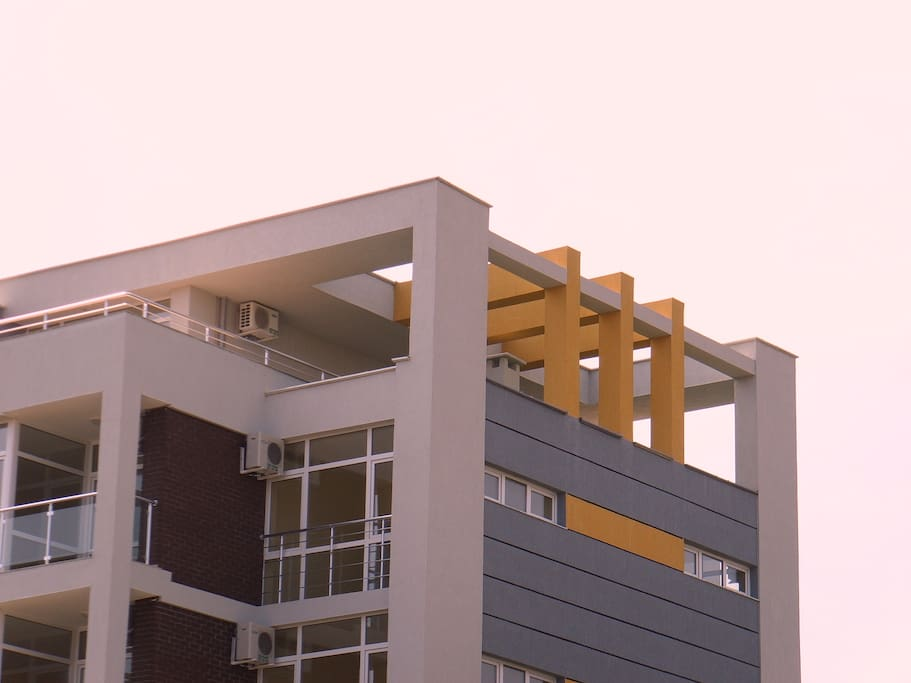 Penthouse side view at top of building