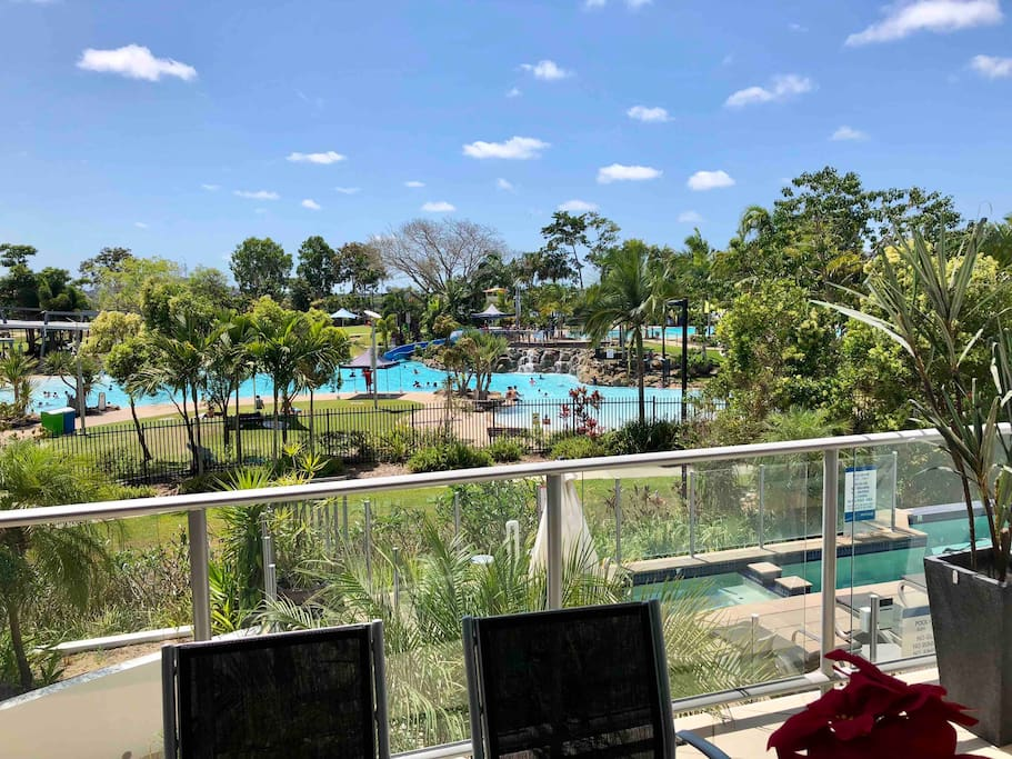 The view from our Balcony, overlooking the Bluewater Lagoon, Rivage Private On-Site Pool and the gorgeous Blue Waters of the Pioneer River.