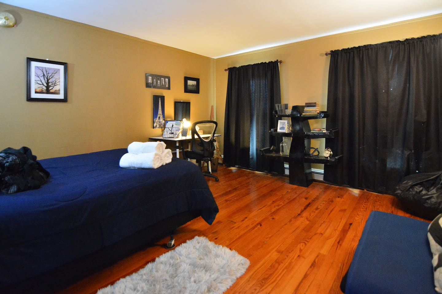 """""""Modern traveler"""" bedroom with black-out curtains -- suitable for all sleeping needs!"""