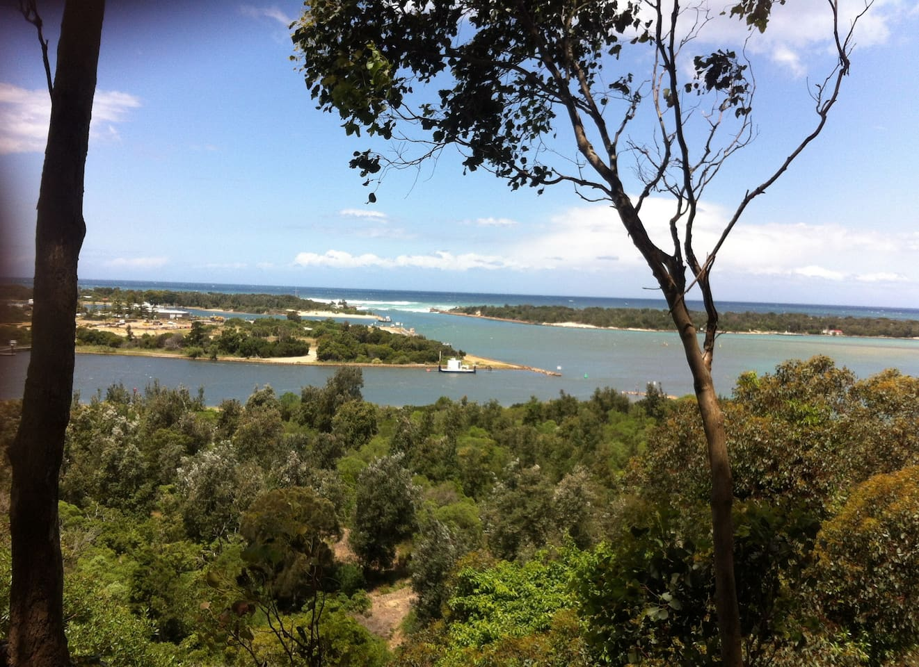 Seaview Parade Lakes Entrance overlooking the town and the entrance