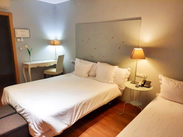 Habitación triple con niño (cama matrimonio+indv)