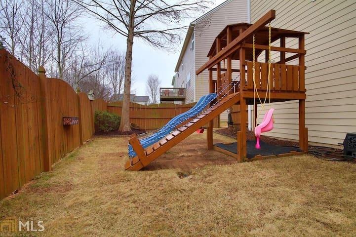 Playhouse in backyard