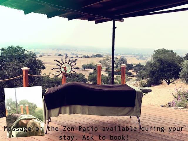 Massage on the zen patio now available, inquire to book ahead! Enjoy the outdoor shower,  jacuzzi, and yoga patio & make it a spa day!