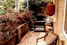 an outdoor undercover private BBQ area