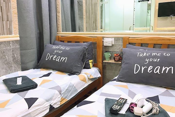 #83 50% OFF Twin Bed Tsim Sha Tsui  MTR for 2 PAX