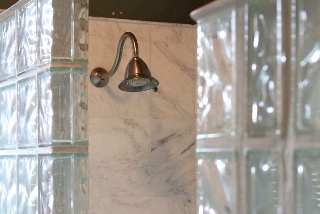 Our walk-in, glass brick shower.