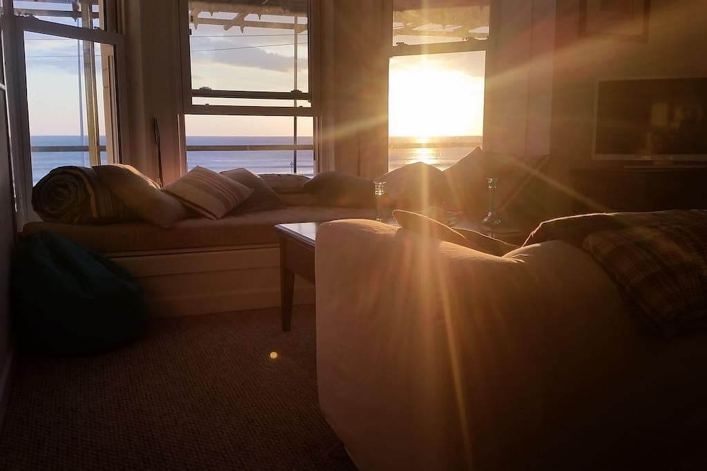 Sun setting from the living room.