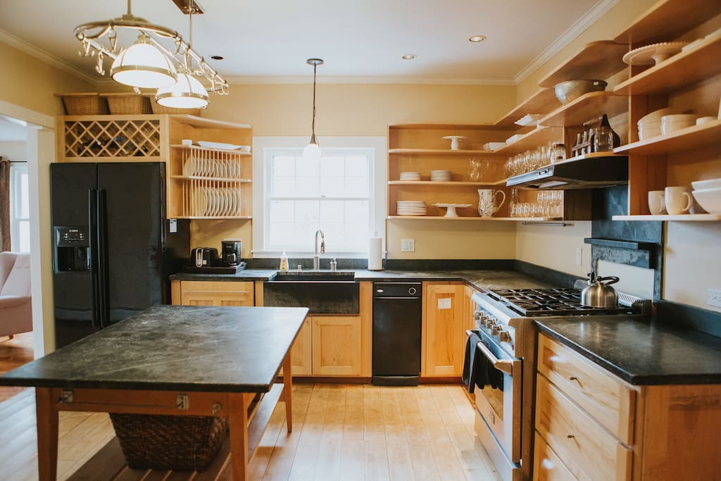 Spacious Kitchen with Beautiful Soapstone Counter