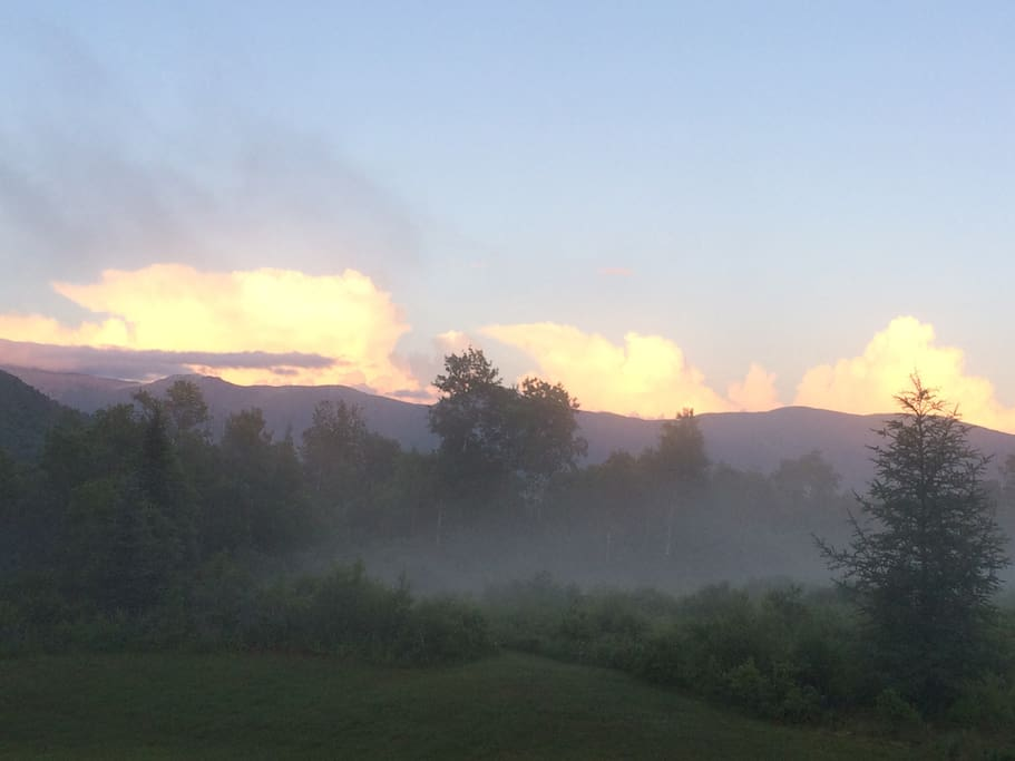 Evening view of the Presidentials from the enormous deck