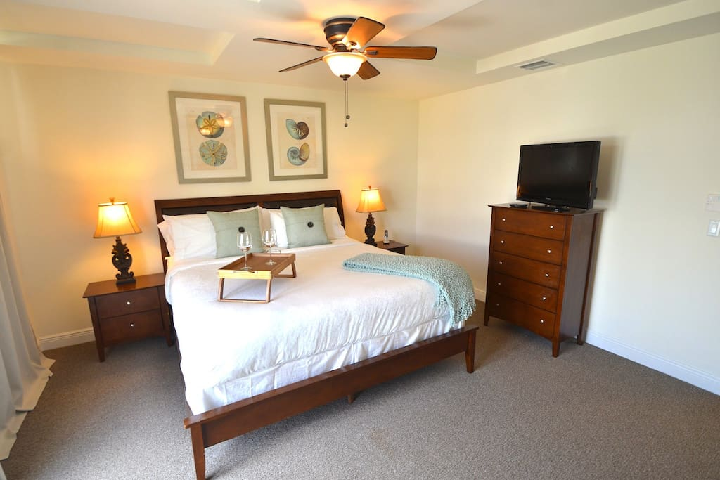 Spacious (Private) Master Bedroom (King Bed) Offers LED HD Television, Balcony Terrace Overlooking Pool Lounge + En Suite Bathrooms...