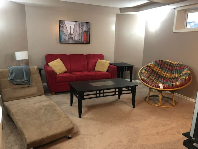 Rec room with flat screen TV and plenty of channel options including movie channel.