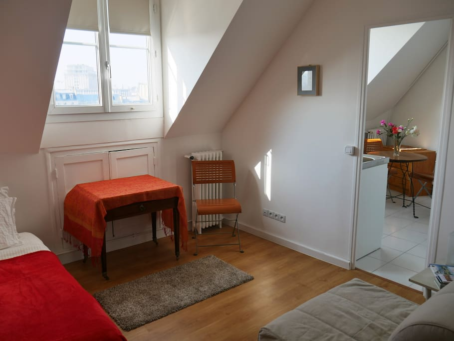 La pièce de séjour avec lit simple / Main room with a single bed