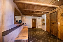 The large, welcoming entrance hall with underfloor heating
