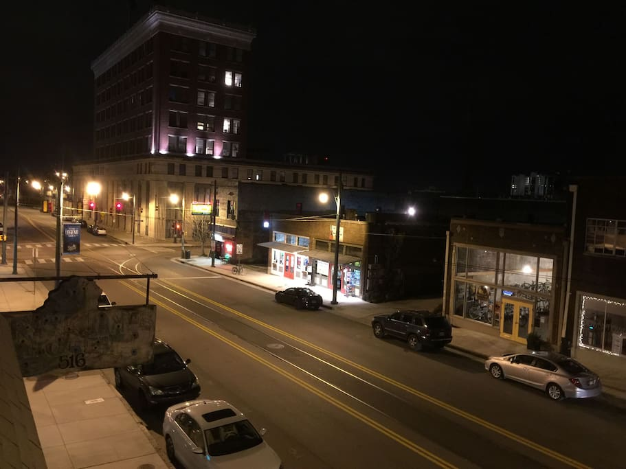 South Main at night from our roof top