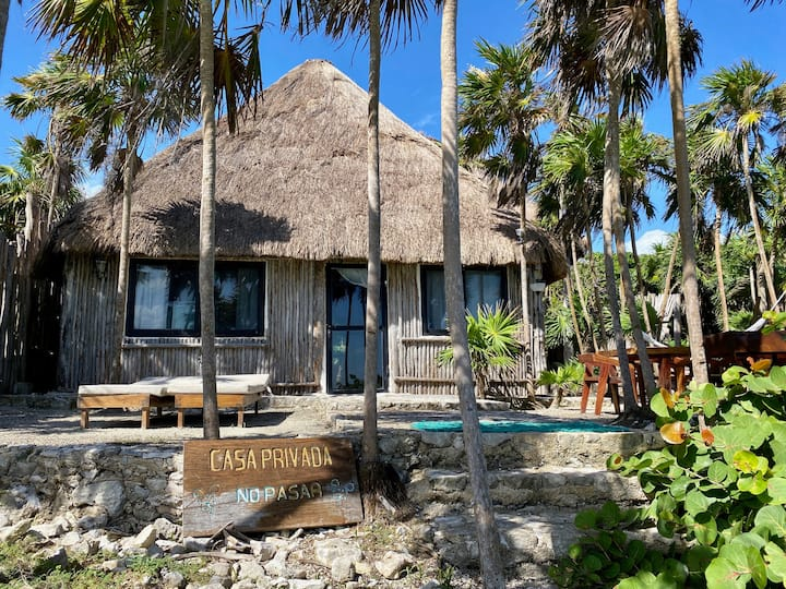 Oceanfront Private House in Tulum beach