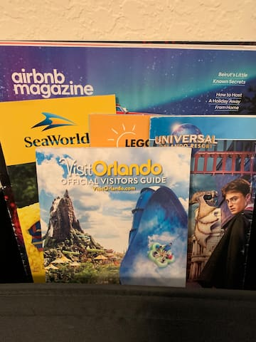 AirBnB magazines and local brochures for theme parks and entertainment are provided for information during your trip.