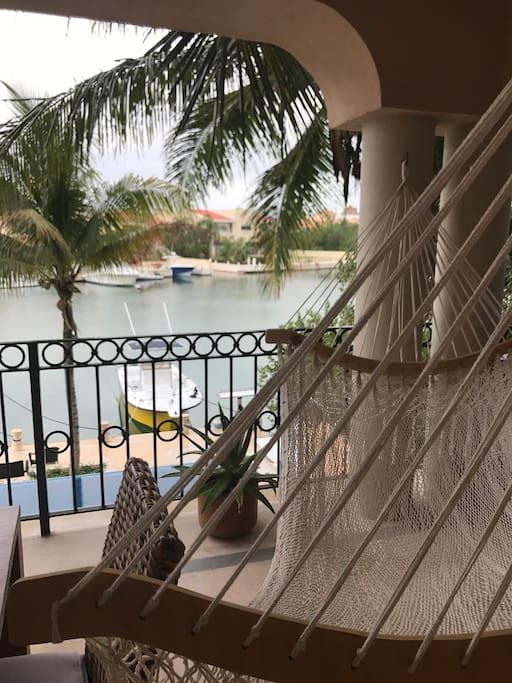 Balcony facing the swimming pool