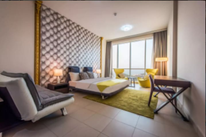 """Two souls with the single thought .. Two hearts that beats as one--- Beautiful comfy master bedroom with king size bed and a sofa bed good for 4 pax or 2 adult and 3 children. Sui's Review """"The apartment has a very good view and it is big enough for 6 persons."""""""