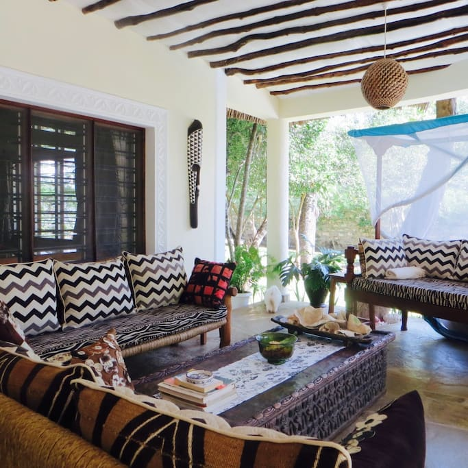 Out door lounge with Swahili day bed.