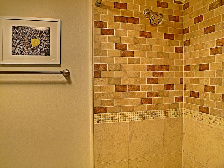 Remodeled beautiful shower, has tub