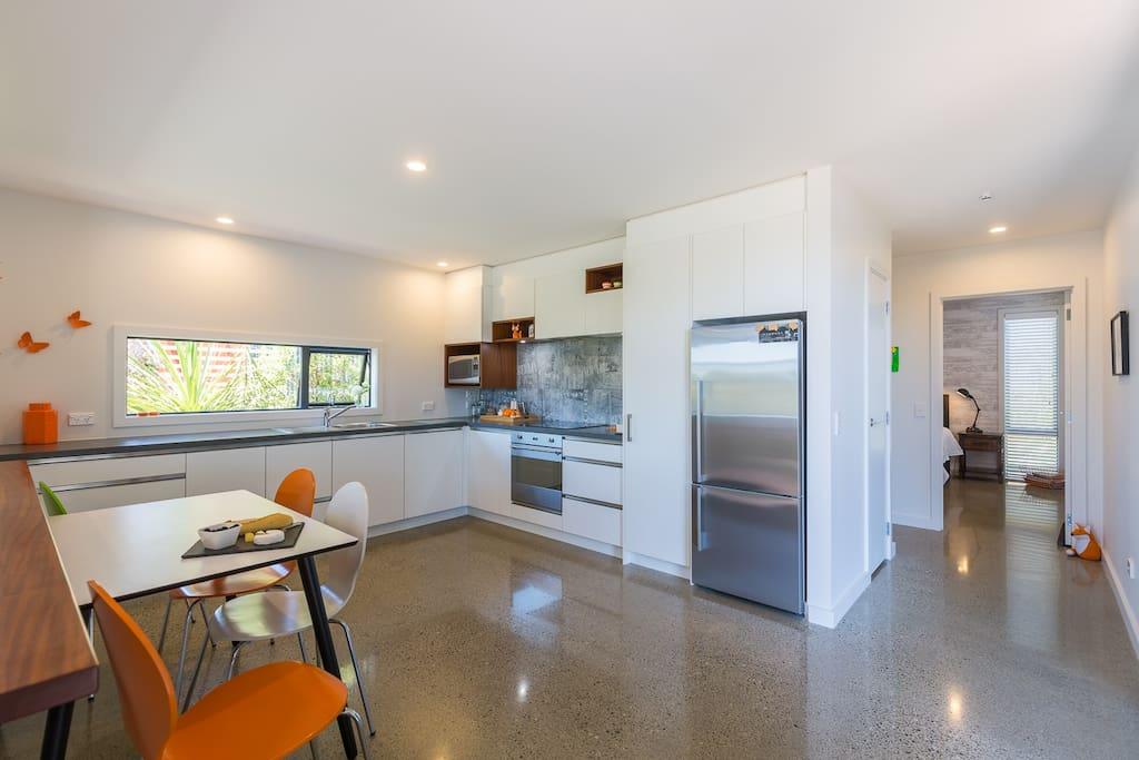 Orange Apartment Kitchen