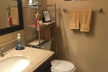 Shower stall and plenty of towels.  Shampoo, conditioner, and body soap are provided.