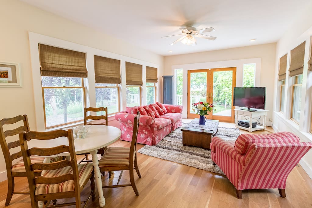Lots of light and vineyard views in the cozy family room.