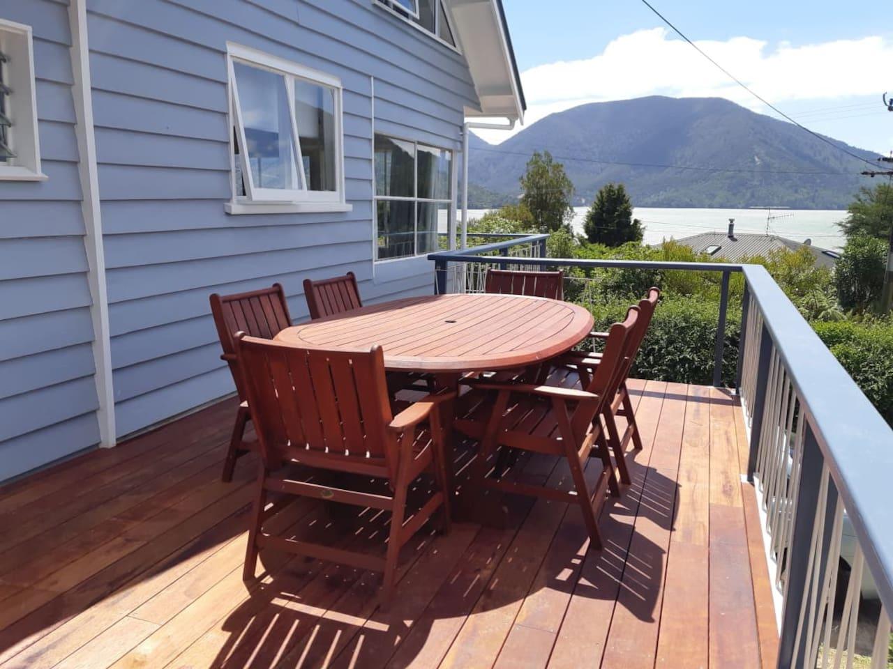 Enjoy breakfast on the deck overlooking the bay.